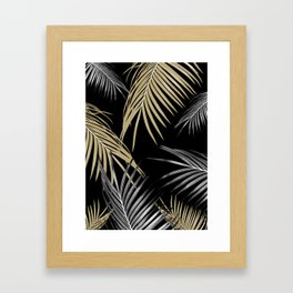 Gold Gray Palm Leaves Dream #1 #tropical #decor #art #society6 Framed Art Print