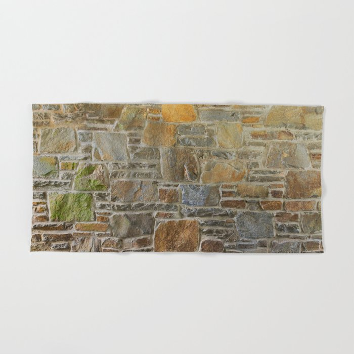 Avondale Brown Stone Wall and Mortar Texture Photography Hand & Bath Towel