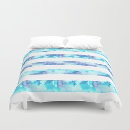 Blue & Purple Watercolor Stripes Duvet Cover