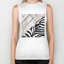 Zebra,marble texture design Biker Tank