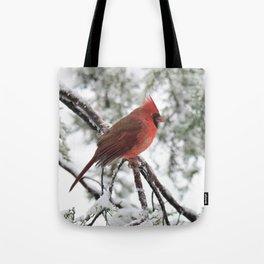 Wet Snow Cardinal (vertical) Tote Bag