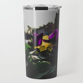 Bruges yellow and purple flowers Travel Mug