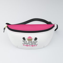 Head Says Cupcakes Funny Gym Quote Fanny Pack