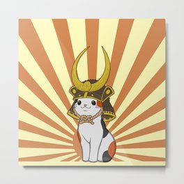 Japanese Bobtail Cat Wears Samurai Hat Metal Print