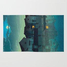 Kawase Hasui Vintage Japanese Woodblock Print Japanese Village Under Moonlight Cloudy Sky Rug