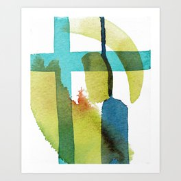 Blue and Yellow and Green Abstract Art Art Print