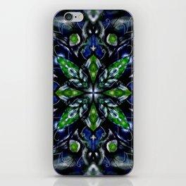 Deep Emerald Green and Blue Mandala iPhone Skin