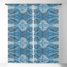 Mirrored Shades of Blue Blackout Curtain
