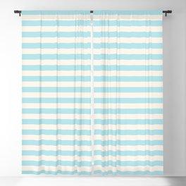 Seafoam Blue Linen Seashell Stripe Blackout Curtain