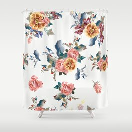 Retro Design In English Victorian Floral Style Shower Curtain