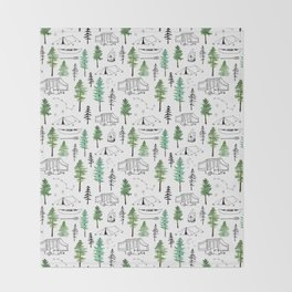 Camping and Trees Throw Blanket