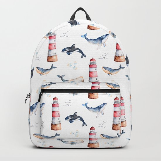 Sea Voyage Whales and Lighthouses Pattern Backpack