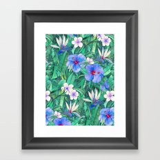 White Bird of Paradise & Blue Hibiscus Tropical Garden Framed Art Print