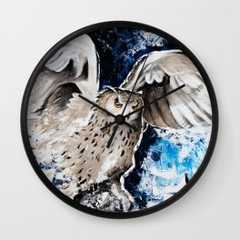 "Owl - Animal - ""I own the night..."" by LiliFlore Wall Clock"