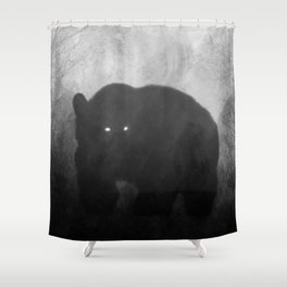 Black and White Bear Silhouette Shower Curtain