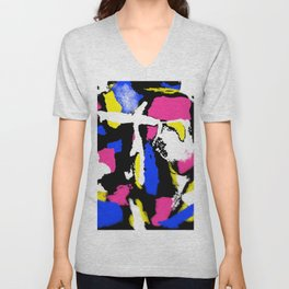 Abstract Splash in Black Unisex V-Neck