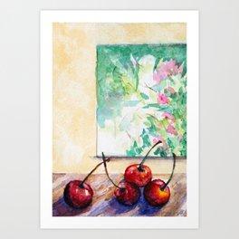 Cherries -Watercolor Art Print