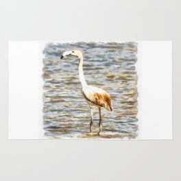 Pretty Flamingo Fledgling Watercolor Rug