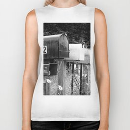 Black and white row of old road country us mailboxes Biker Tank