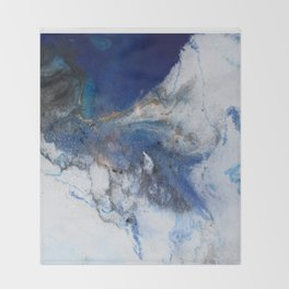 Abstract blue marble Throw Blanket