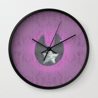 pentagram Wall Clocks featuring Black Moon Tin Star Pentagram by The Witches Brew