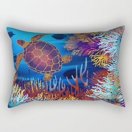 Sea Turtle On A Coral Reef Rectangular Pillow