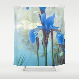 Blue Iris, The Dancing Spirit Of Early Summer Shower Curtain