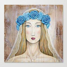 Blue Rose Priestess Canvas Print