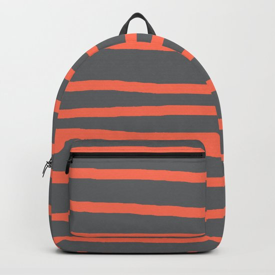 Simply Drawn Stripes Deep Coral on Storm Gray Backpack