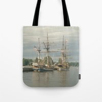 ships Tote Bags featuring Tall Ships by Vicki Dvorak
