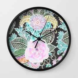 Hand painted black pink teal white green watercolor floral Wall Clock