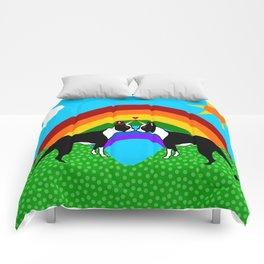 Boston Terrier Unicorn Love Comforters