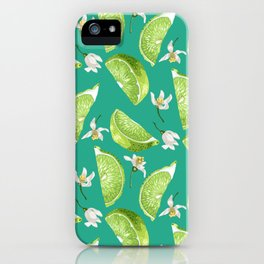 Marine lime slices and flowers iPhone Case