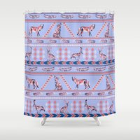 howl Shower Curtains featuring Geometric Howl by Strange Charm