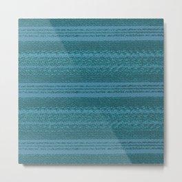 Big Stich Aqua Teal - Knitting Fabric Art Metal Print
