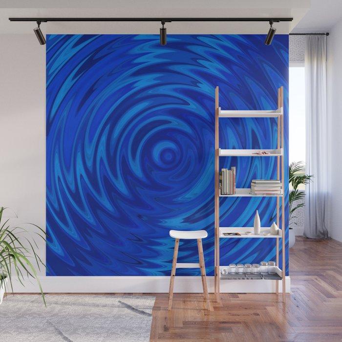 Water Moon Cobalt Swirl Wall Mural