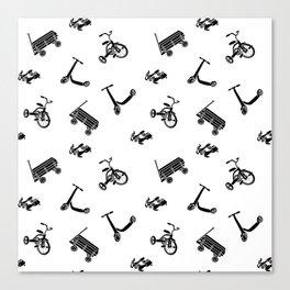 vintage wheels black and white pattern Canvas Print