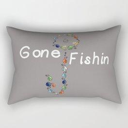 Gone Fishin Fishing Lures and Hooks on Gray Background Rectangular Pillow