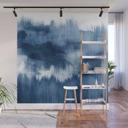 Blue watercolor brush strokes Wall Mural