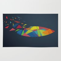 surfboard Area & Throw Rugs featuring Surfboard abstract triangle by frap231