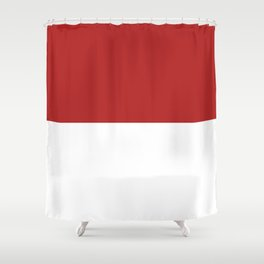 White and Firebrick Red Horizontal Halves Shower Curtain
