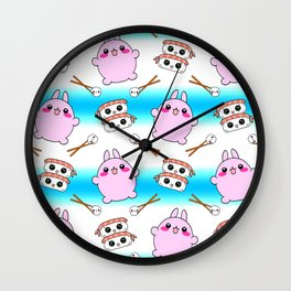 Cute funny Kawaii chibi little pink baby bunnies, happy sweet cheerful sushi with shrimp on top, rice balls and chopsticks colorful white and blue striped pattern design. Wall Clock