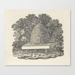 Beehive Woodcut Canvas Print