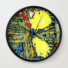 digital collagraph floral print Wall Clock