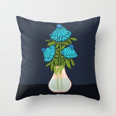 Blue Echinacea Throw Pillow