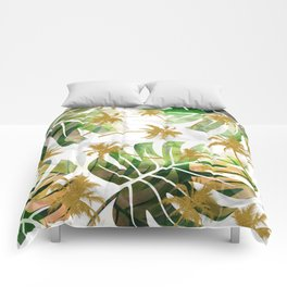 Monstera and golden tropical palms Comforters