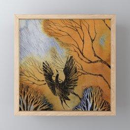 Black Heron Framed Mini Art Print