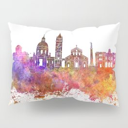 Messina skyline in watercolor background Pillow Sham