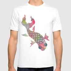Rainbow Koi Fish Mens Fitted Tee White MEDIUM