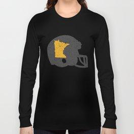 State Shape of Minnesota on Vintage Football Helmet Long Sleeve T-shirt